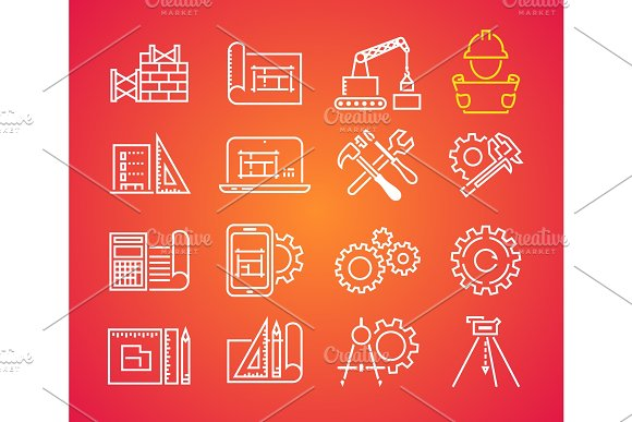 Outline Web Icons Set Building Construction And Home Repair Tools Engineering Line Icon