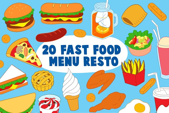 Fast Food Menu Resto Vector Art