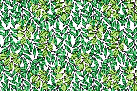 Green Stripe Leaves On White Pattern