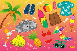 Travel to Tropical Beach Vector Art