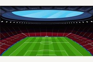 A huge empty soccer stadium