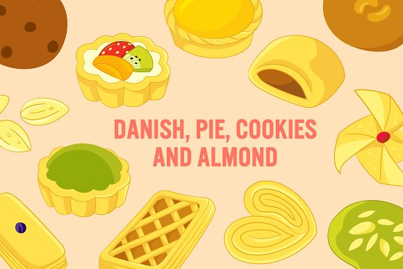 Danish-Pie-Cookies-Almond Vector Art