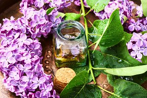Bottle of lilac essential oil