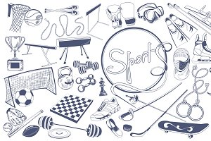 Monochrome Sports Elements Set