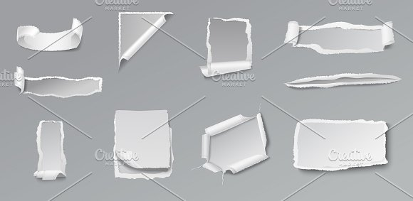 Blank Torn Paper Set