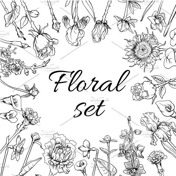 Vintage Blossom Flowers Set