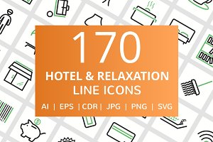 170 Hotel & Relaxation Line Icons