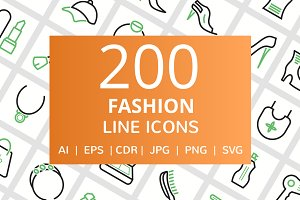 200 Fashion Line Icons