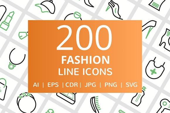 200 Fashion Line Icons