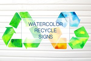 Recycle Watercolor Vector Signs