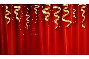 Holiday serpentine ribbons set.