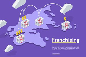 Franchising chains store on purple