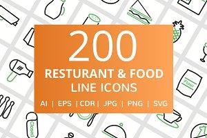 200 Restaurant & Food Line Icons