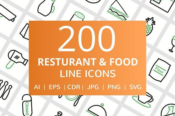 200 Restaurant Food Line Icons