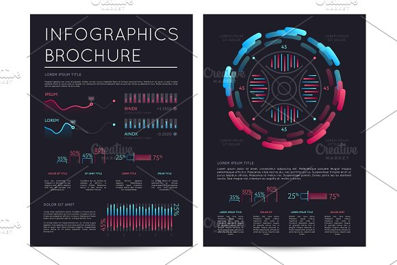 Business Infographics Brochure With Various Charts