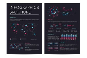 Financial brochure with various infographics