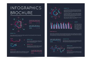 Business presentation template in deep blue style