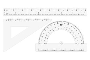 Various transparent rulers on white background