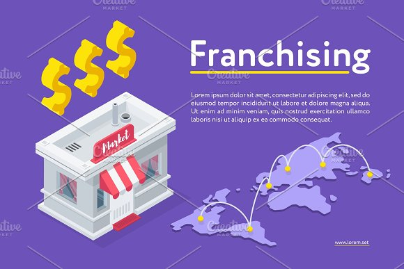 Franchising Banner And Market Building