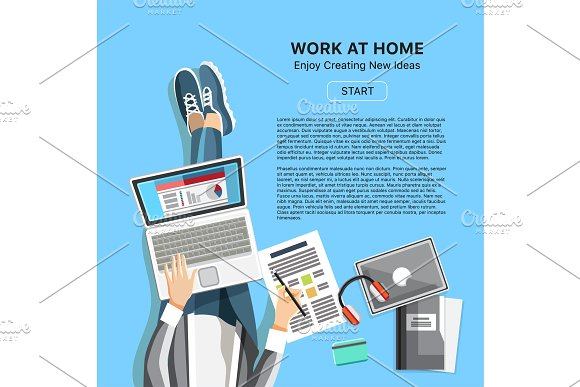 Work At Home Office Concept With Man