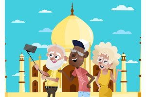 Smiling old people doing selfie in India.