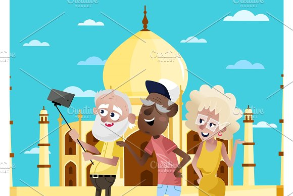 Smiling Old People Doing Selfie In India