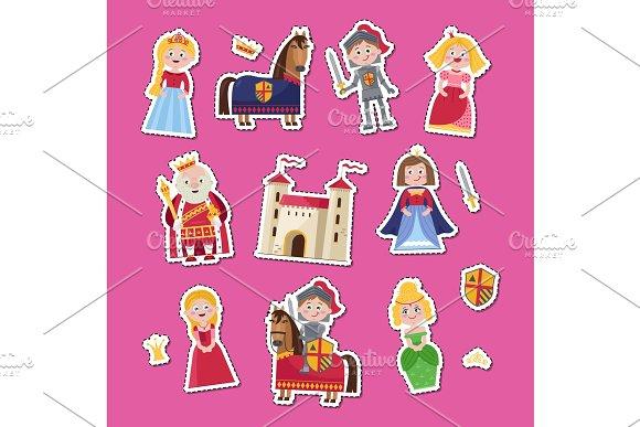 Fairytale Medieval Set In Cartoon Style