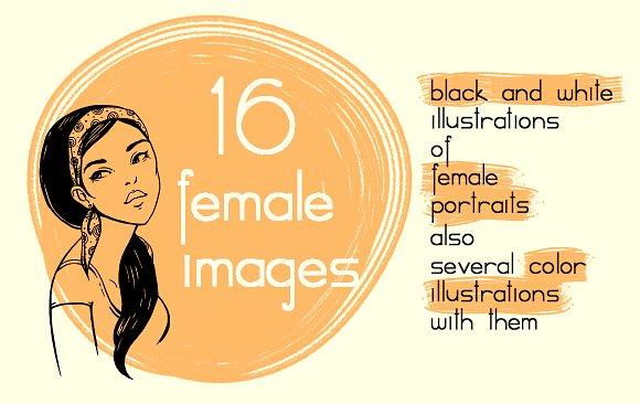 Hand-drawn Female Portraits