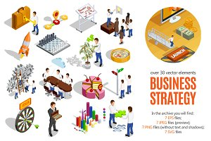 Business Strategy Isometric Set