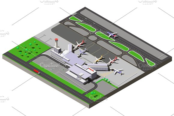 Vector Isometric Airport