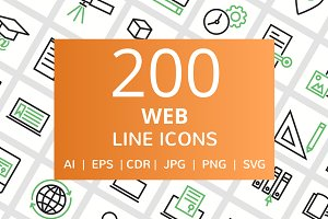 200 Web Line Green & Black Icons
