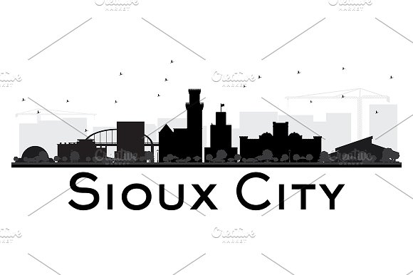 Sioux City Skyline Black And White