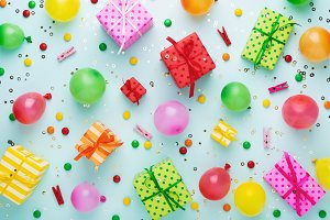 Party background with gift boxes