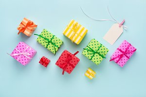 Holiday colorful gift boxes