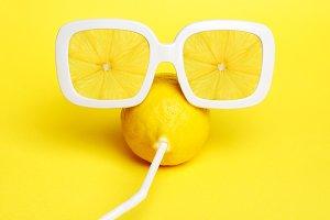 Tropic Lemon in vintage sunglasses