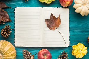 Open Notebook on green autumn background