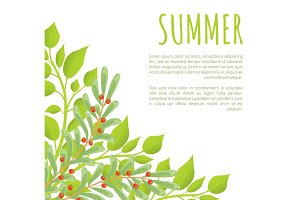 Summer Poster and Green Bushes with Red Berries