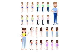 Male and Female Constructor Vector Illustration