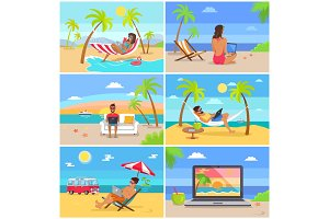 Freelancers in Swimwear Work in Summer at Beach
