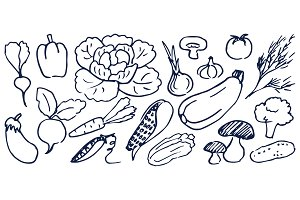 Set of Hand Drawing Black and White Vegetables