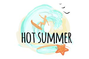 Hot Summer Happy Placard, Vector Illustration