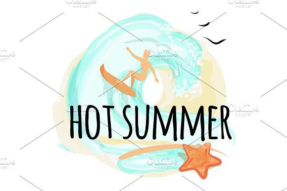 Hot Summer Happy Placard Vector Illustration