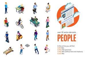 People Society Isometric Set