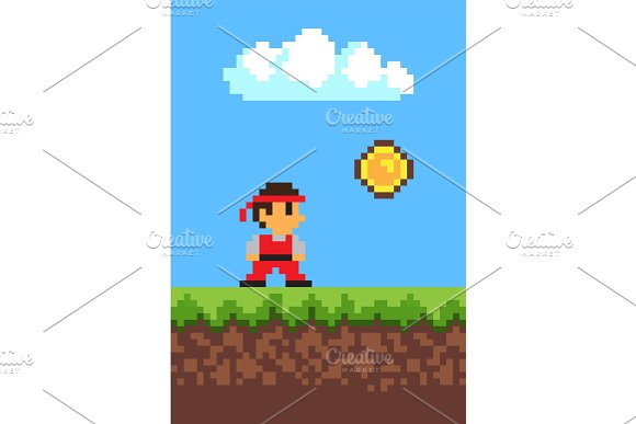Man Collecting Coins 2d Game Pixel Illustration