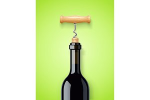 Wine bottle with bottle-screw and cork