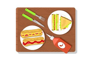 Food Placed on Wooden Board Vector Illustration