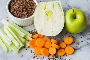 Ingredient for smoothie with fennel, apple, carrot