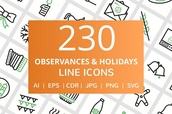 230 Observances Holiday Line Icons