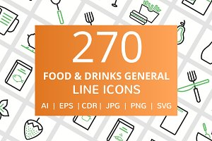 270 Food & Drinks General Line Icons
