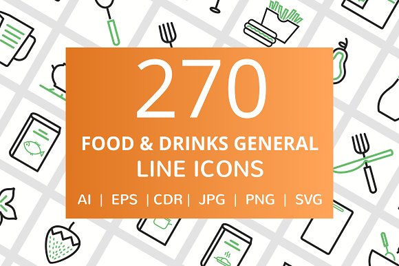 270 Food Drinks General Line Icons
